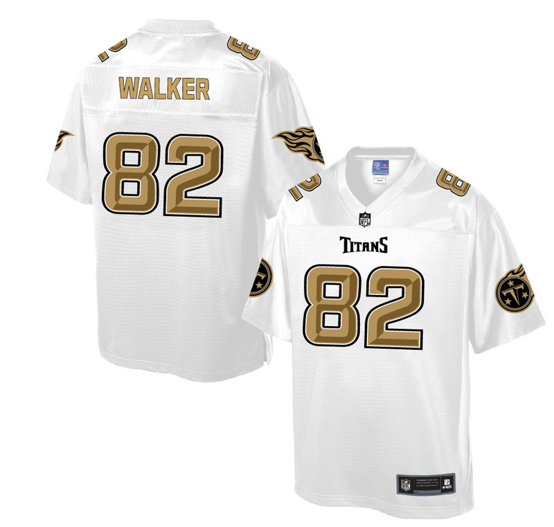 Nike Titans 82 Delanie Walker Pro Line White Gold Collection Elite Jersey
