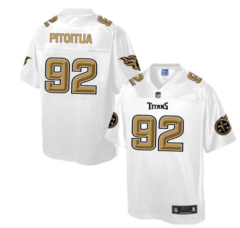 Nike Titans 92 Ropati Pitoitua Pro Line White Gold Collection Elite Jersey