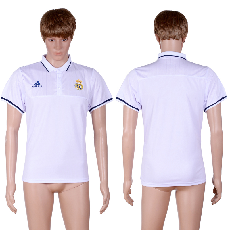 Real Madrid White Men's Soccer Polo Shirt