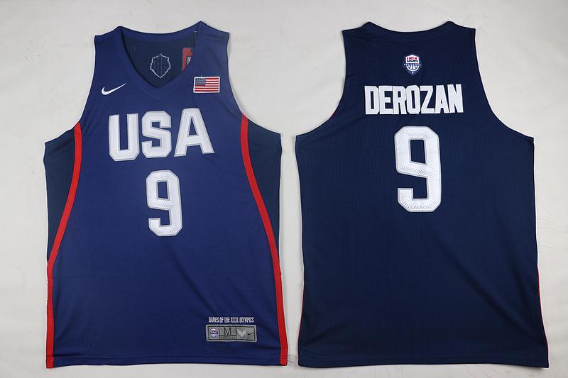USA Basketball 9 DeMar DeRozan Royal Nike Rio Elite Stitched Jersey