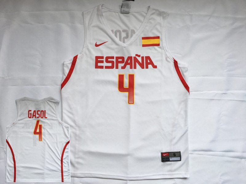 Spain Basketball 4 Pau Gasol White Nike Rio Elite Jersey