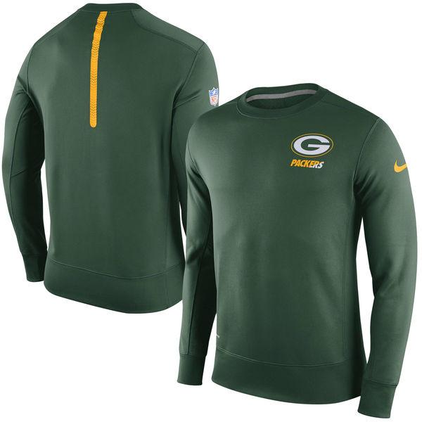 Nike Green Bay Packers Green 2015 Sideline Crew Fleece Performance Sweatshirt