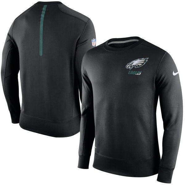 Nike Philadelphia Eagles Black 2015 Sideline Crew Fleece Performance Sweatshirt