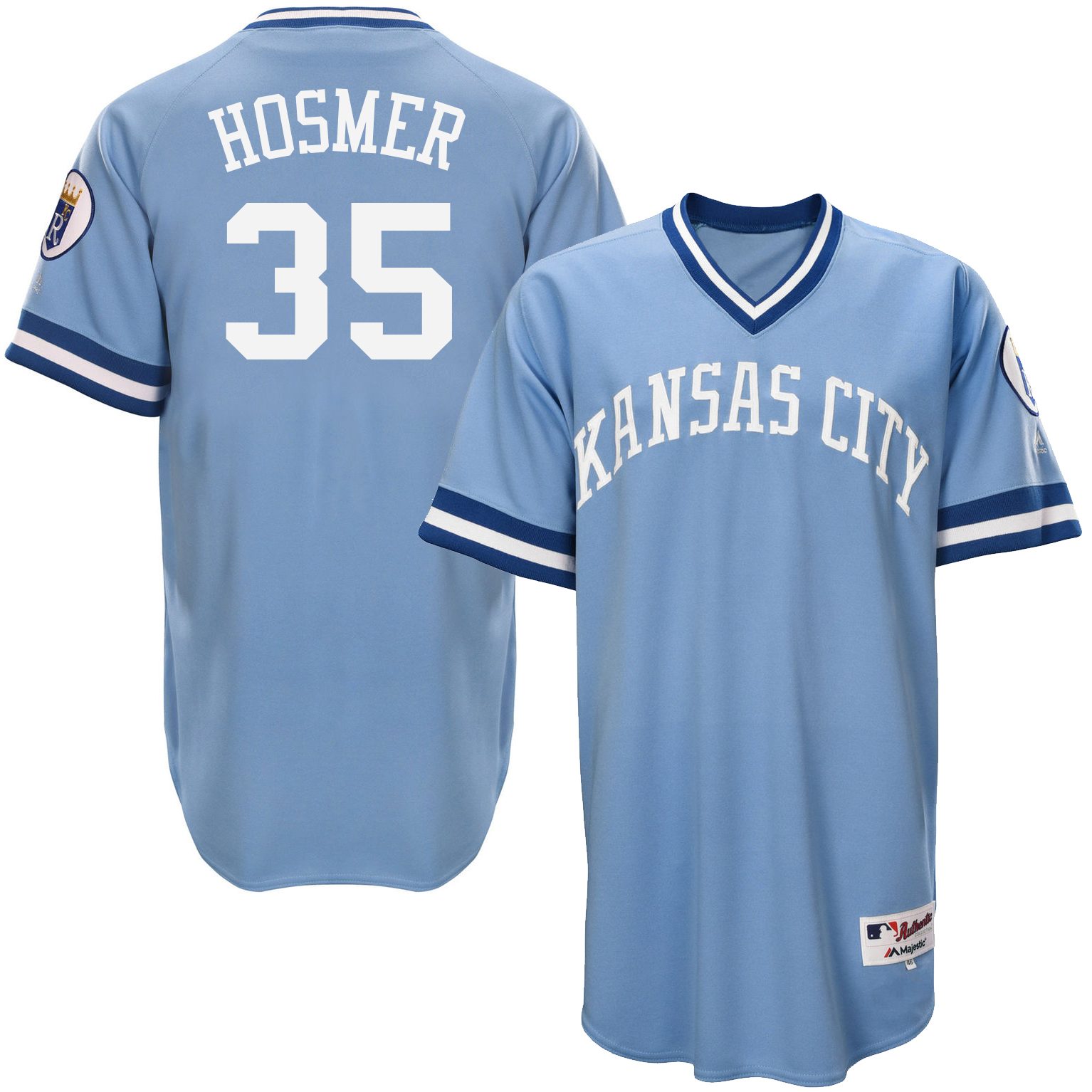 Royals 35 Eric Hosmer Light Blue Throwback Jersey