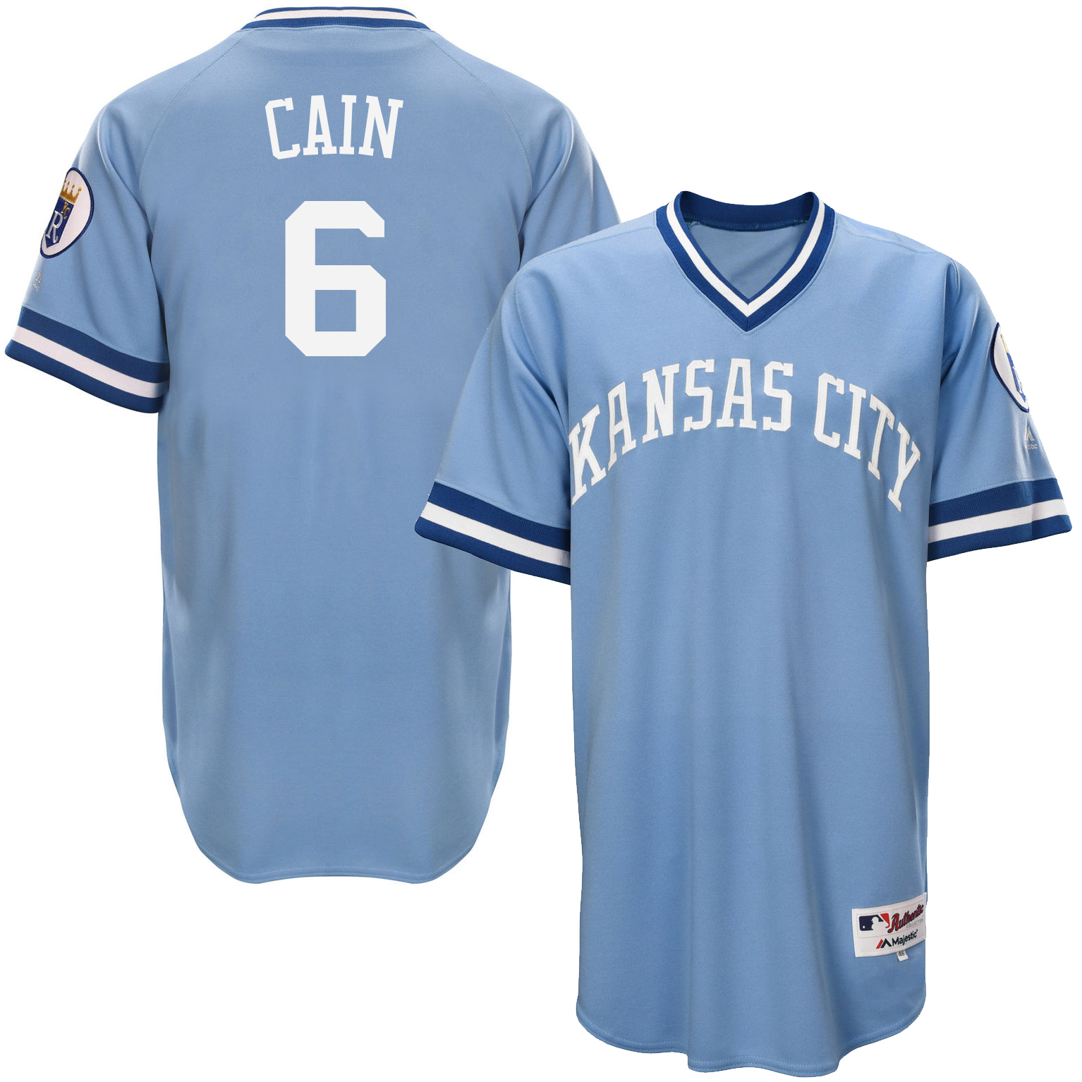Royals 6 Lorenzo Cain Light Blue Throwback Jersey