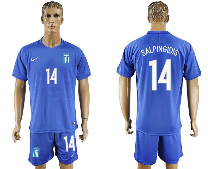 2016-17 Greece 14 SALPINGIDIS Away Soccer Jersey