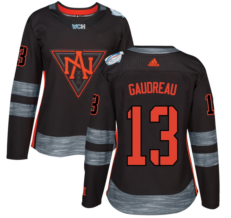 North America 13 Johnny Gaudreau Black Women World Cup of Hockey 2016 Player Jersey