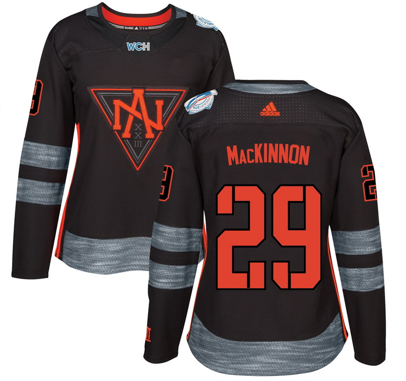 North America 29 Nathan MacKinnon Black Women World Cup of Hockey 2016 Player Jersey