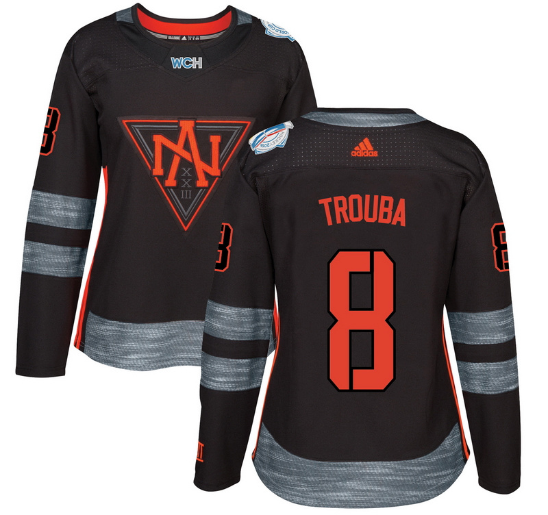 North America 8 Jacob Trouba Black Women World Cup of Hockey 2016 Player Jersey