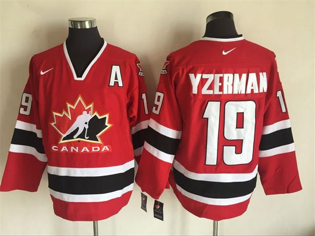Team Canada 19 Steve Yzerman Red 2002 Olympics Nike Hockey Jersey