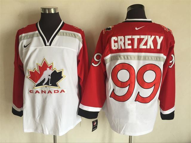 Team Canada 99 Wayne Gretzky White 2002 Olympics Nike Hockey Jersey
