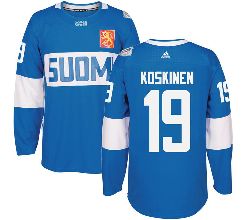 Finland 19 Mikko Koskinen Blue 2016 World Cup Of Hockey Premier Player Jersey