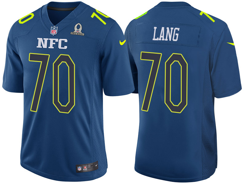 Nike Packers 70 T.J. Lang Navy 2017 Pro Bowl Game Jersey