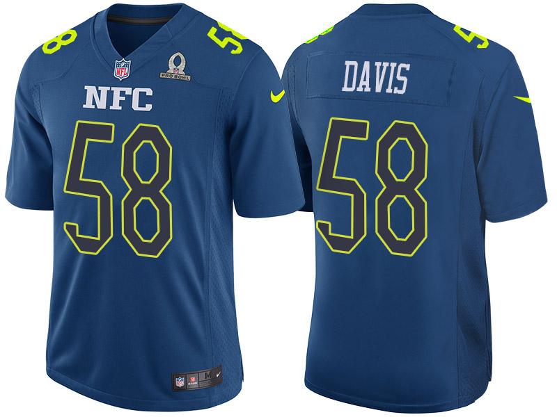 Nike Panthers 58 Thomas Davis Navy 2017 Pro Bowl Game Jersey