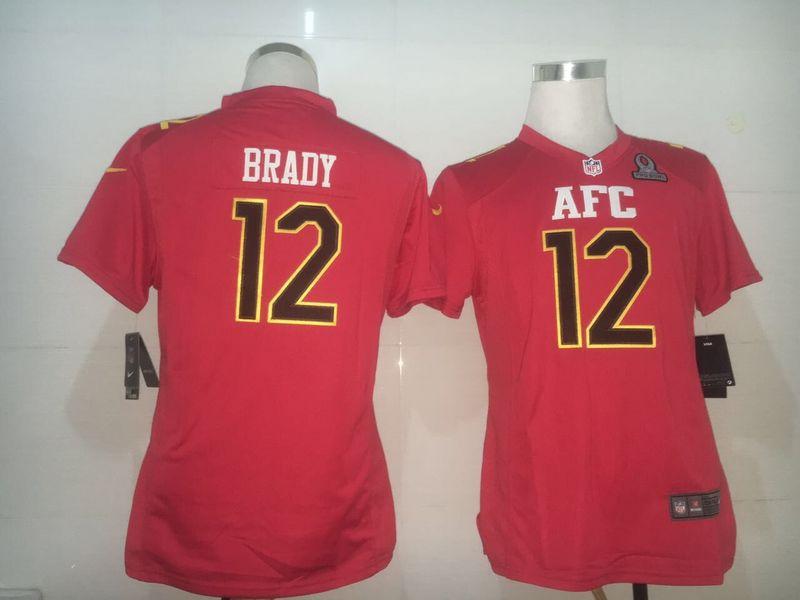Nike Patriots 12 Tom Brady Red 2017 Pro Bowl Women Game Jersey