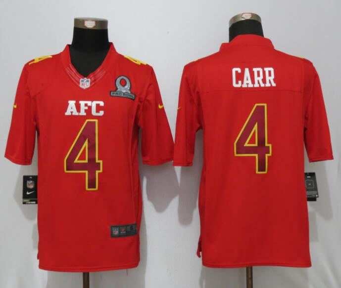 Nike Raiders 4 Derek Carr Red 2017 Pro Bowl Limited Jersey