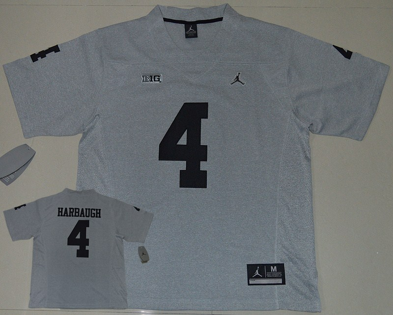 Michigan Wolverines 4 Jim Harbaugh Grey College Football Jersey