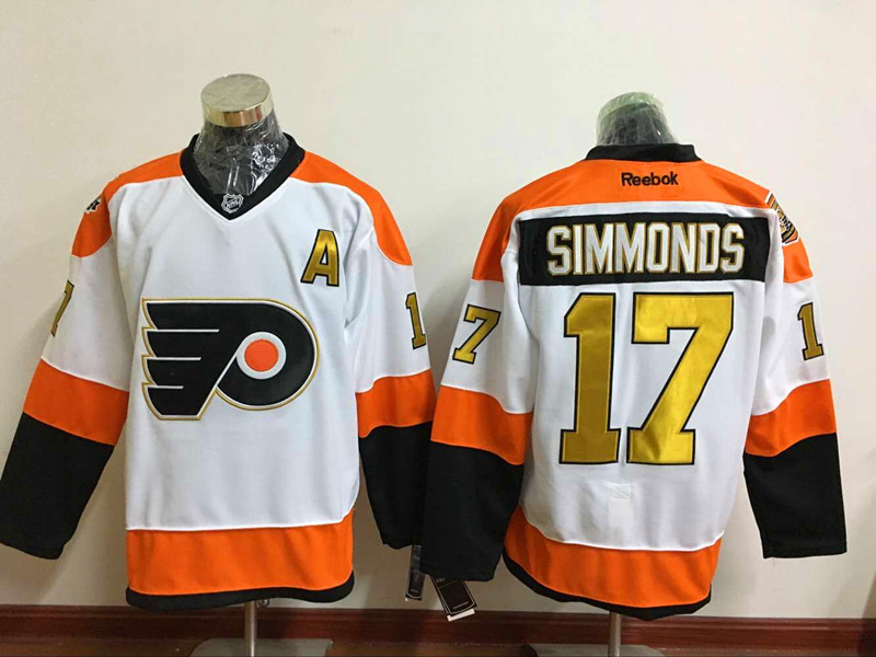 Flyers 17 Wayne Simmonds White With 50th Anniversary Patch Reebok Jersey