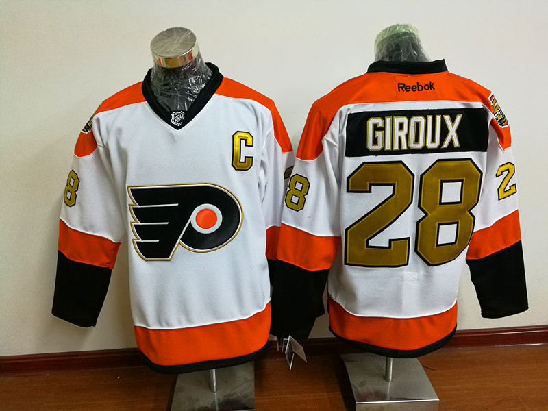 Flyers 28 Claude Giroux White With 50th Anniversary Patch Reebok Jersey