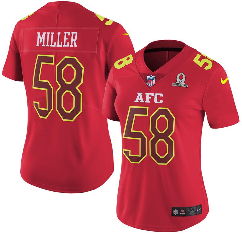 Nike Broncos 58 Von Miller Red 2017 Pro Bowl Women Game Jersey