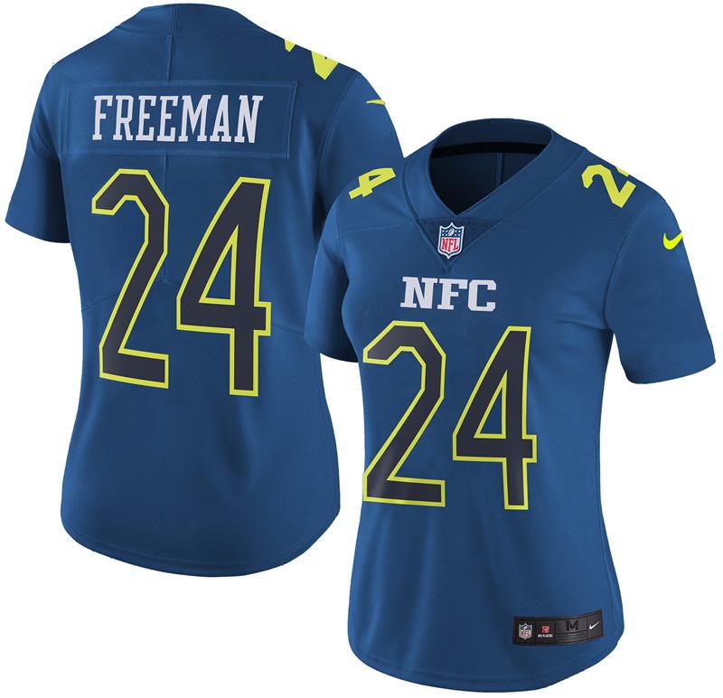 Nike Falcons 24 Devonta Freeman Navy 2017 Pro Bowl Women Game Jersey