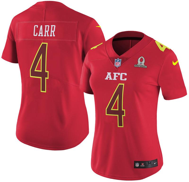 Nike Raiders 4 Derek Carr Red 2017 Pro Bowl Women Game Jersey