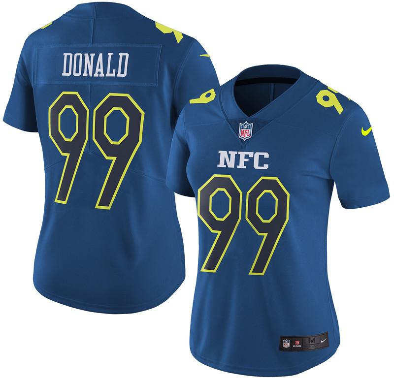 Nike Rams 99 Aaron Donald Navy 2017 Pro Bowl Women Game Jersey