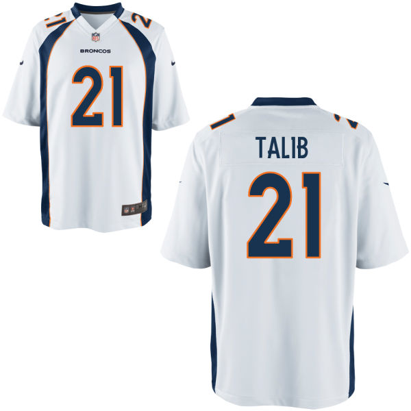 Nike Broncos 21 Aqib Talib White Youth Game Jersey