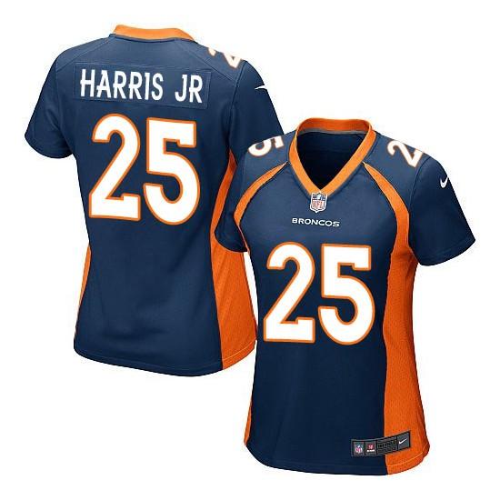 Nike Broncos 25 Chris Harris Jr Navy Women Game Jersey