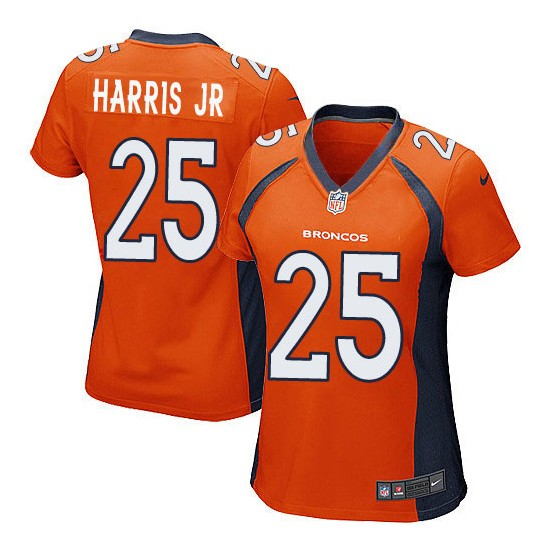 Nike Broncos 25 Chris Harris Jr Orange Women Game Jersey
