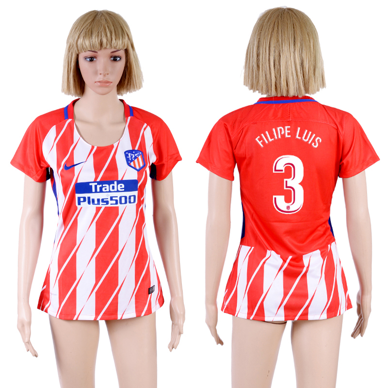 2017-18 Atletico Madrid 3 FILIPE LUIS Home Women Soccer Jersey