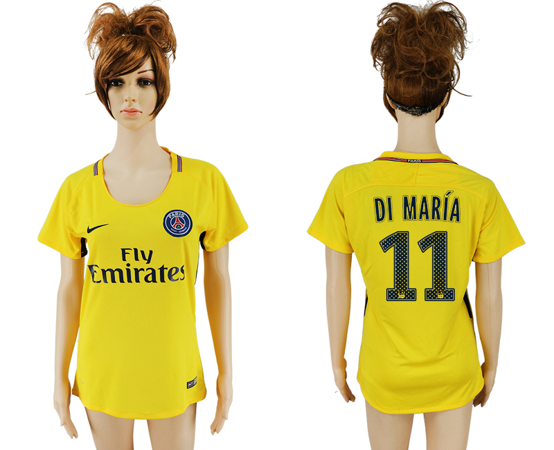 2017-18 Paris Saint-Germain 11 DI MARIA Away Women Thailand Soccer Jersey
