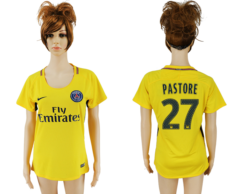 2017-18 Paris Saint-Germain 27 PASTORE Away Women Thailand Soccer Jersey