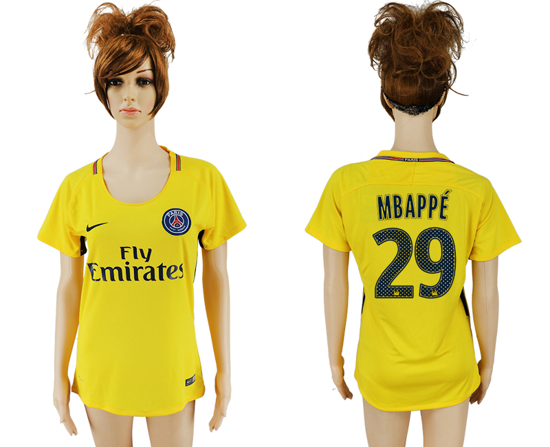 2017-18 Paris Saint-Germain 29 MBAPPE Away Women Thailand Soccer Jersey