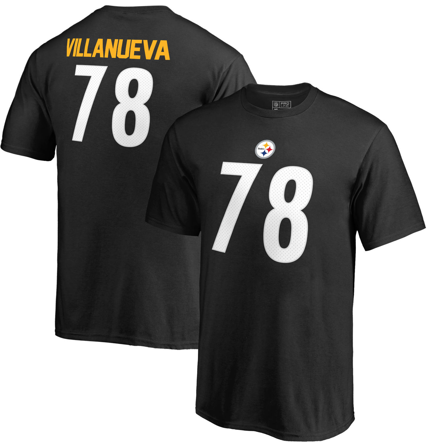 Youth Pittsburgh Steelers 78 Alejandro Villanueva NFL Pro Line by Fanatics Branded Black Authentic Stack Name Number T Shirt