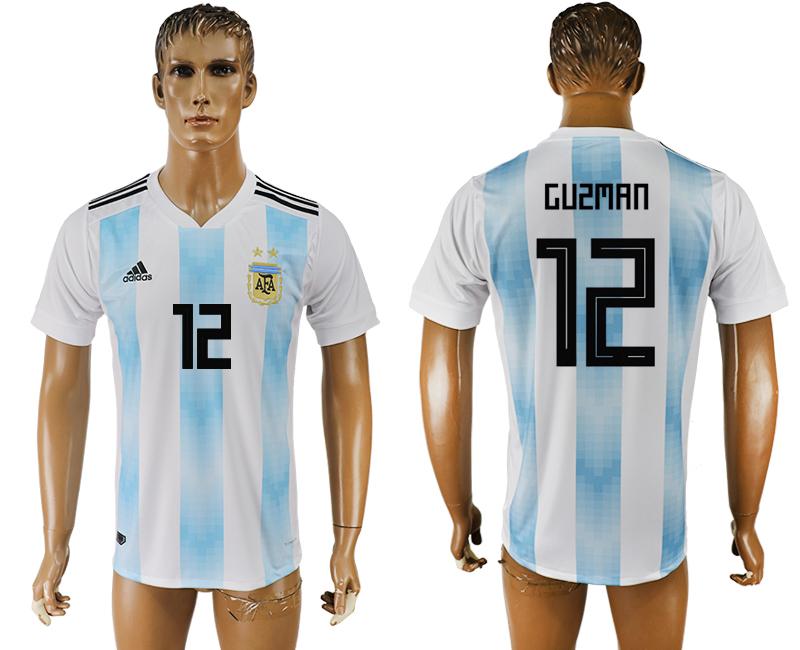Argentina 12 GUZMAN Home 2018 FIFA World Cup Thailand Soccer Jersey