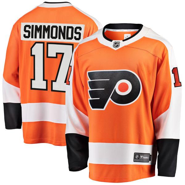 Flyers 17 Wayne Simmonds Orange Fanatics Branded Breakaway Player Jersey