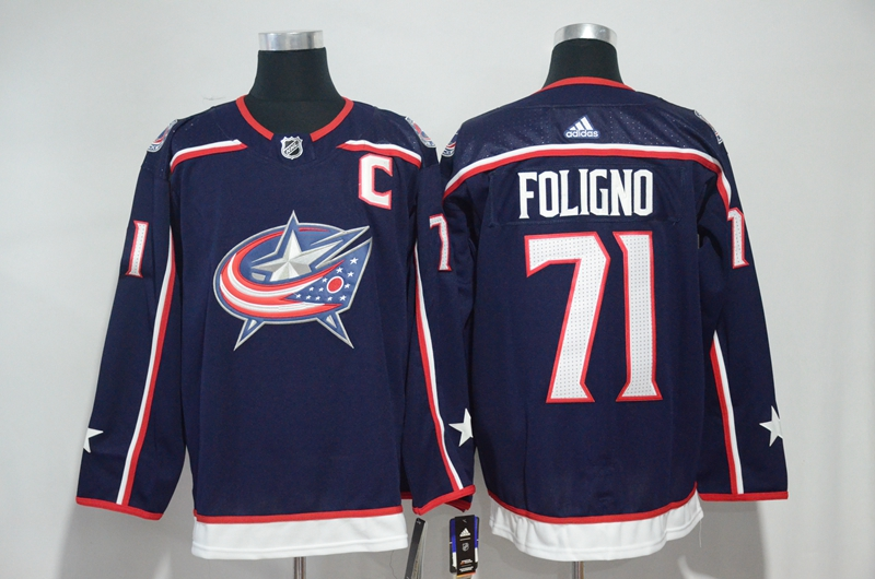 Blue Jackets 71 Nick Foligno Navy Adidas Jersey