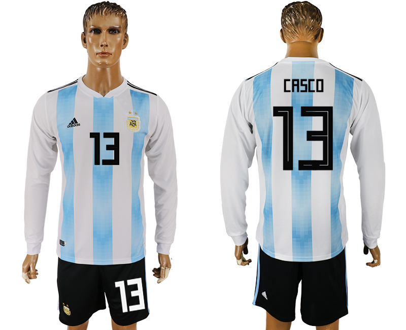 Argentina 13 CASCO Home Long Sleeve 2018 FIFA World Cup Soccer Jersey