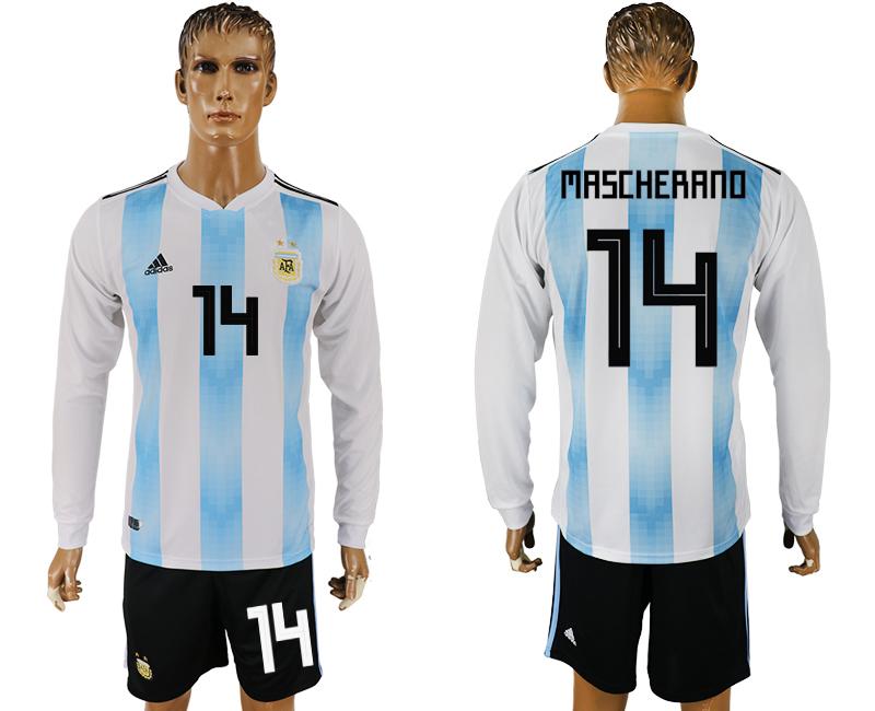 Argentina 14 ASCHERANO Home Long Sleeve 2018 FIFA World Cup Soccer Jersey