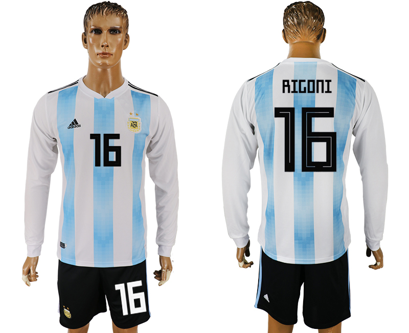 Argentina 16 RIGONI Home Long Sleeve 2018 FIFA World Cup Soccer Jersey