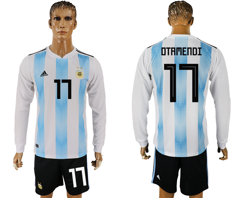 Argentina 17 OTAMENDI Home Long Sleeve 2018 FIFA World Cup Soccer Jersey