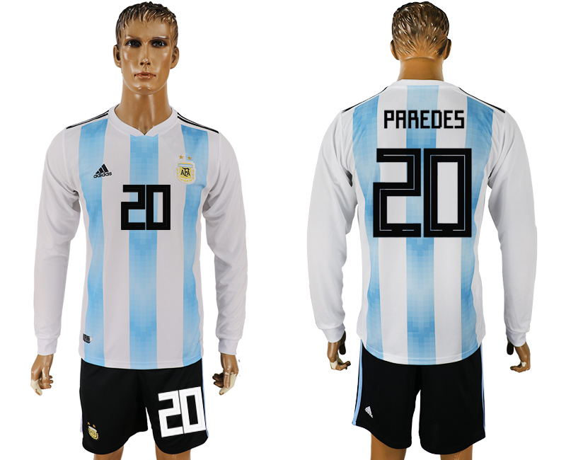 Argentina 20 PAREDES Home Long Sleeve 2018 FIFA World Cup Soccer Jersey