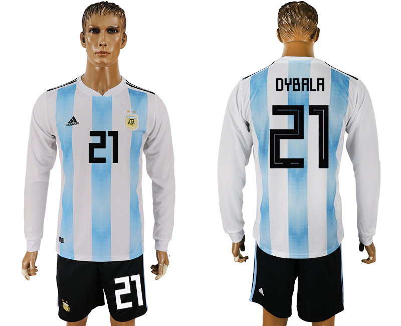 Argentina 21 DYBALA Home Long Sleeve 2018 FIFA World Cup Soccer Jersey