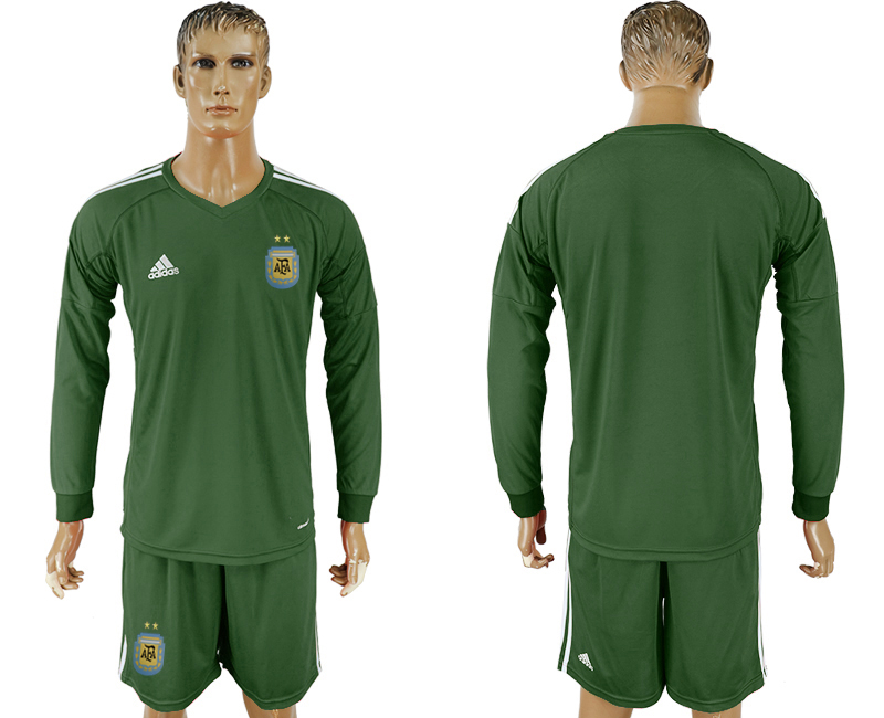 Argentina Army Green Long Sleeve Goalkeeper 2018 FIFA World Cup Soccer Jersey