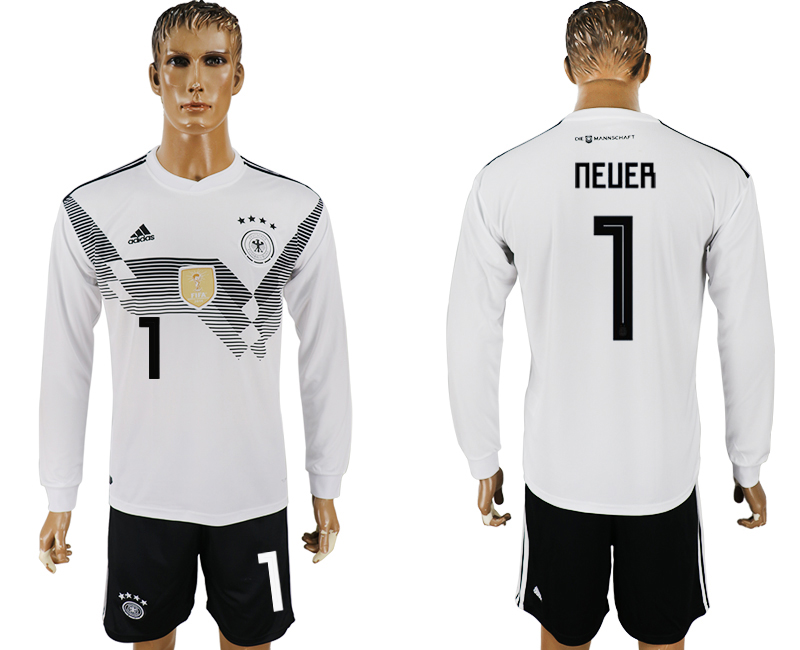 Germany 1 NEUER Home Long Sleeve 2018 FIFA World Cup Soccer Jersey