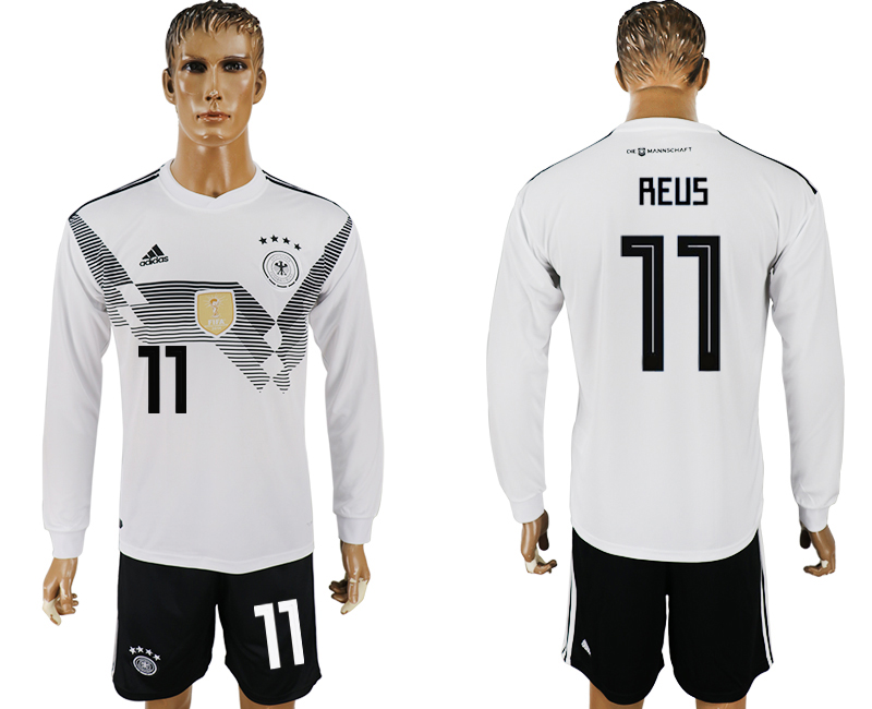 Germany 11 REUS Home Long Sleeve 2018 FIFA World Cup Soccer Jersey