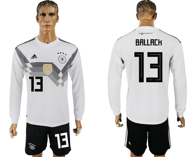 Germany 13 BALLACK Home Long Sleeve 2018 FIFA World Cup Soccer Jersey