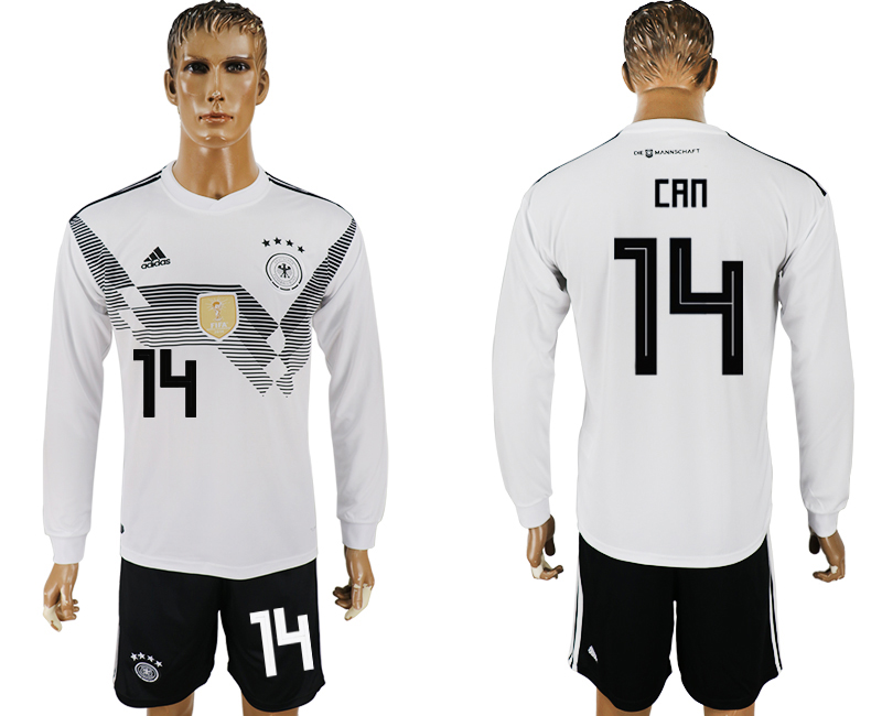 Germany 14 CAN Home Long Sleeve 2018 FIFA World Cup Soccer Jersey