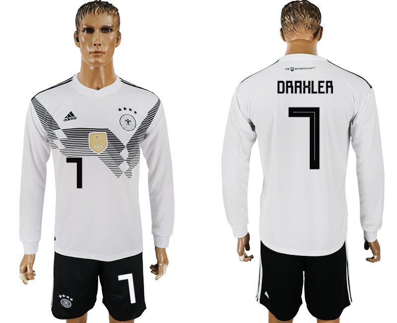 Germany 7 DRAXLER Home Long Sleeve 2018 FIFA World Cup Soccer Jersey